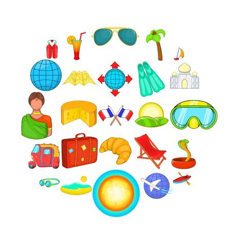 Overseas icons set. Cartoon set of 25 overseas vector icons for web isolated on white background