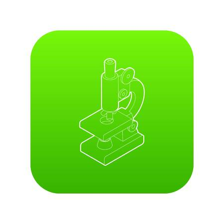 Microscope icon green vector isolated on white background