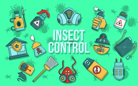 Insect control concept banner. Cartoon banner of insect control vector concept for web, giftcard and postcard Illustration