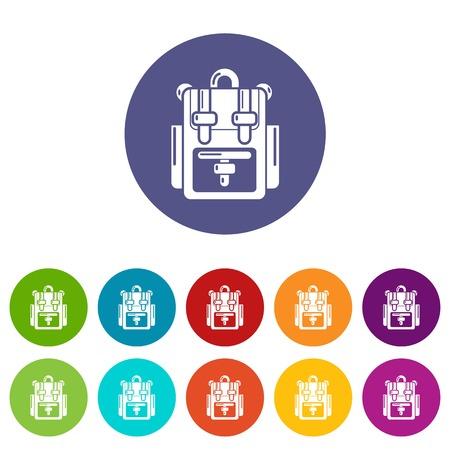 Plecak przygoda ikony kolor zestaw wektor dla każdego projektu strony internetowej na białym tle Ilustracje wektorowe