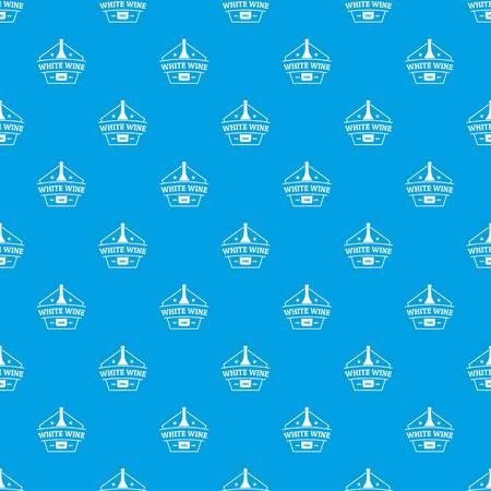 Bottle wine pattern vector seamless blue repeat for any use