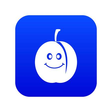 Fresh smiling apricot icon digital blue for any design isolated on white vector illustration
