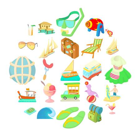 Wedding trip icons set. Cartoon set of 25 wedding trip vector icons for web isolated on white background