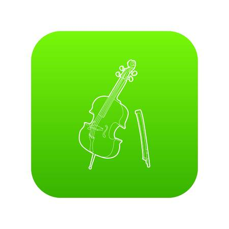 Violin icon green vector