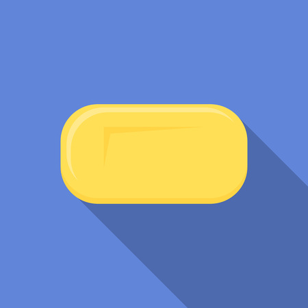 Yellow soap icon. Flat illustration of yellow soap vector icon for web design 向量圖像