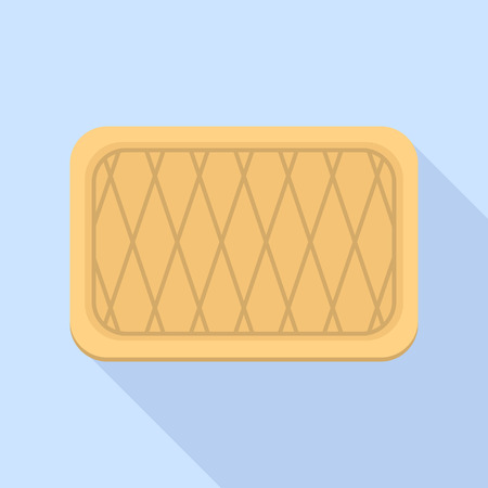 Striped biscuit icon, flat style