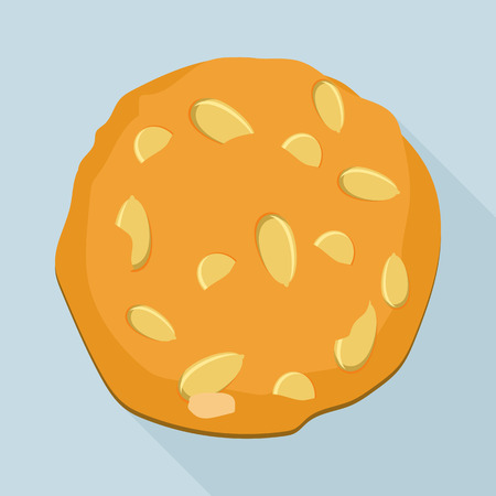 Sunflower seed cookie icon, flat style