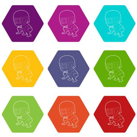 Protecting player icons set 9 vector Illustration