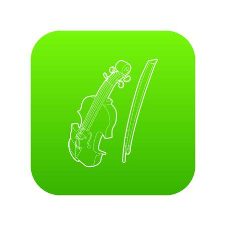 Contrabass icon green vector