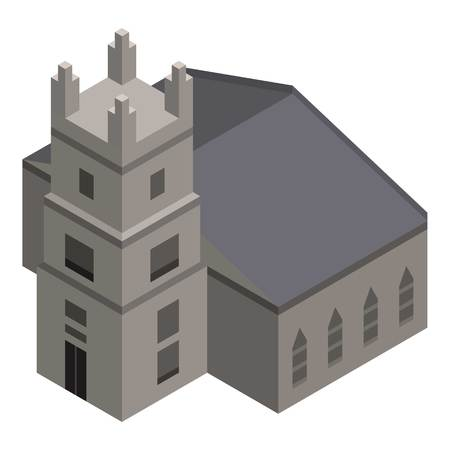 Church tower icon, isometric style