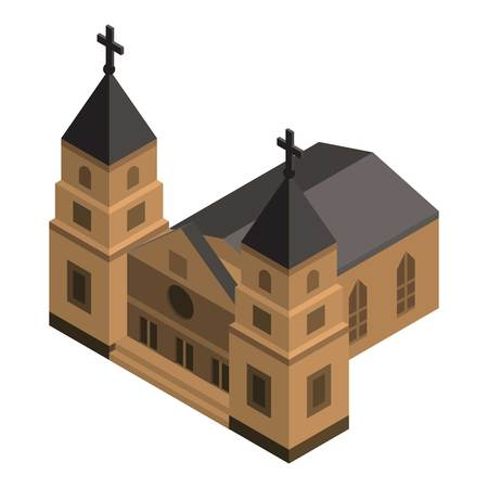 Double tower church icon, isometric style