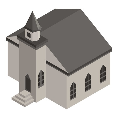 Medieval church icon, isometric style