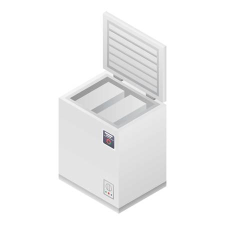 Home Tiefkühltruhe-Symbol. Isometrisch des Vektorsymbols für den Tiefkühlschrank zu Hause für Webdesign isoliert auf weißem Hintergrund