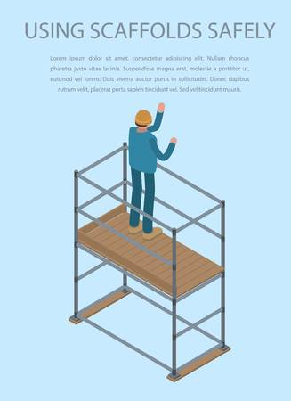 Using scaffolds safely concept background, isometric style Illustration