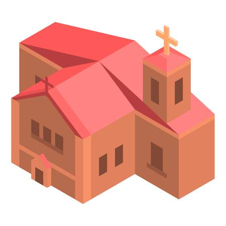 Red brick church icon, isometric style