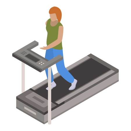 Woman treadmill icon. Isometric of woman treadmill vector icon for web design isolated on white background