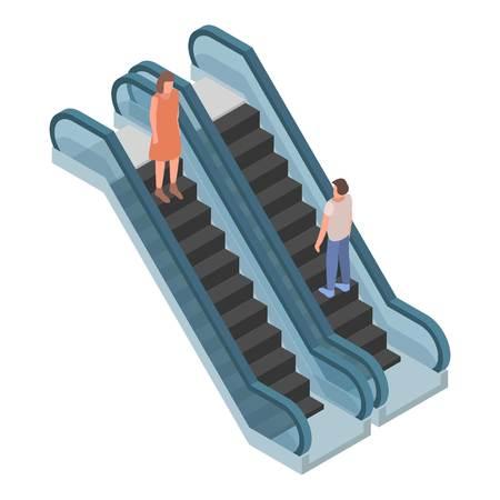 Two direction escalator icon. Isometric of two direction escalator vector icon for web design isolated on white background Ilustração
