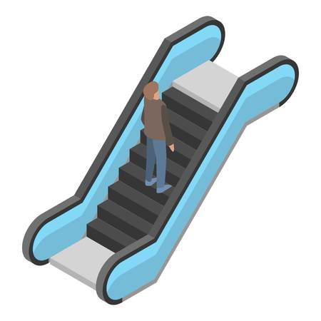 Escalator icon. Isometric of escalator vector icon for web design isolated on white background
