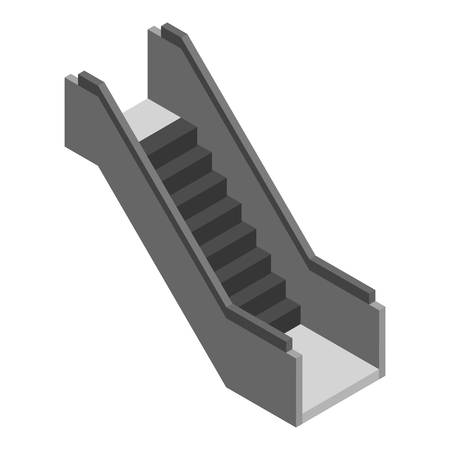 Escalator stairs icon. Isometric of escalator stairs vector icon for web design isolated on white background