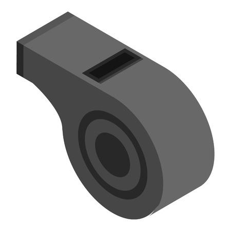 Black whistle icon, isometric style