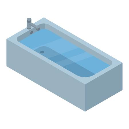 Full water bathtub icon. Isometric of full water bathtub vector icon for web design isolated on white background