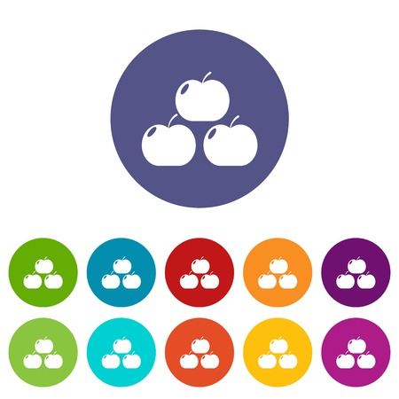 Apples icons set color