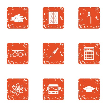 Chemical engineering icons set, grunge style