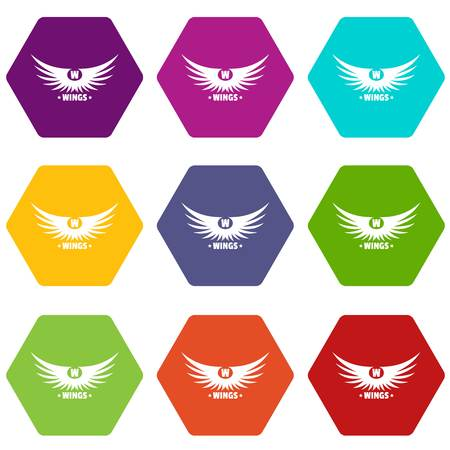 Modern wing icons set Archivio Fotografico