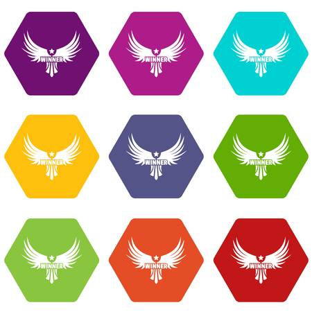 Winner wing icons set Archivio Fotografico