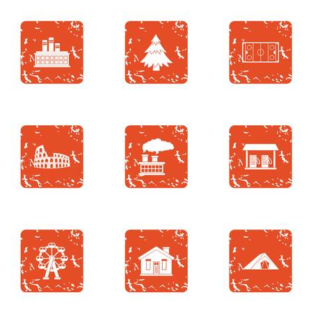 Develop a house icons set, grunge style
