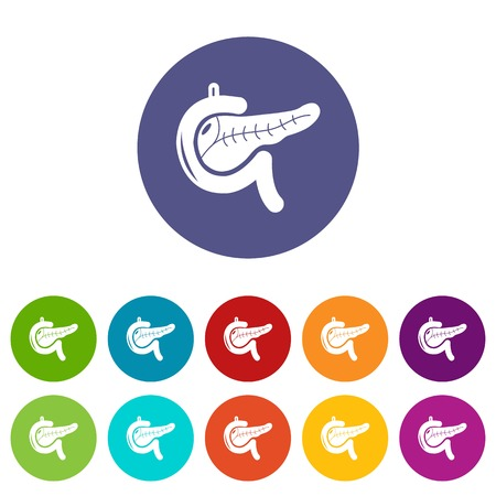 Pancreas icons set color