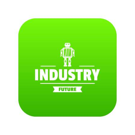 Robot metal icon green isolated on white background Stock Photo