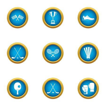 League title icons set. Flat set of 9 league title icons for web isolated on white background