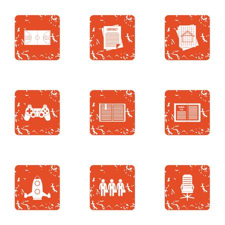 Instruction icons set. Grunge set of 9 instruction icons for web isolated on white background Stock Photo