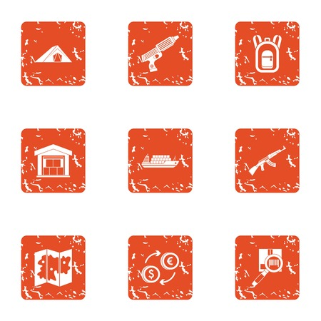 Storage facility icons set. Grunge set of 9 storage facility icons for web isolated on white background