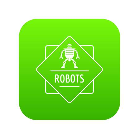 Robot technology icon green isolated on white background Stock Photo