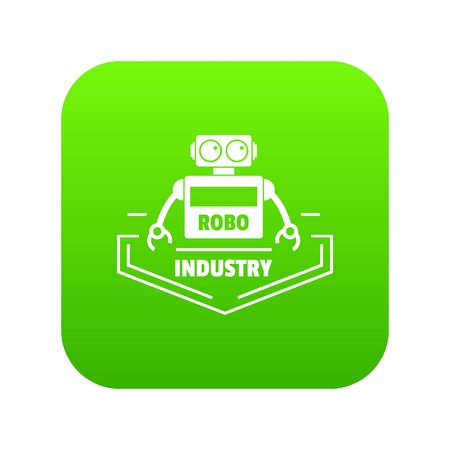 Robot industry icon green isolated on white background Stock Photo