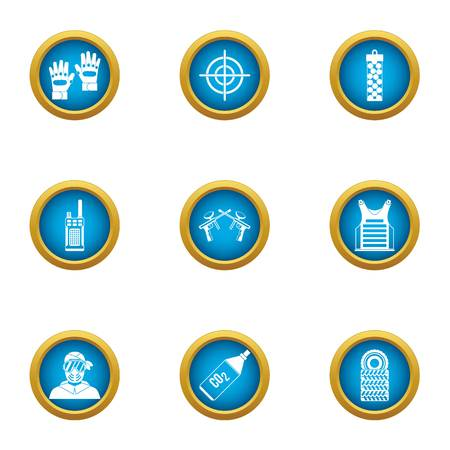 Airsoft icons set. Flat set of 9 airsoft icons for web isolated on white background Фото со стока