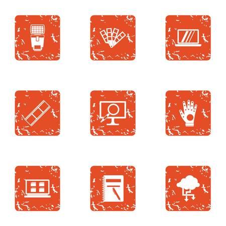 Flow of information icons set. Grunge set of 9 flow of information icons for web isolated on white background