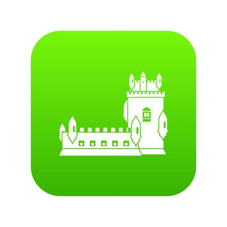 History castle icon green isolated on white background