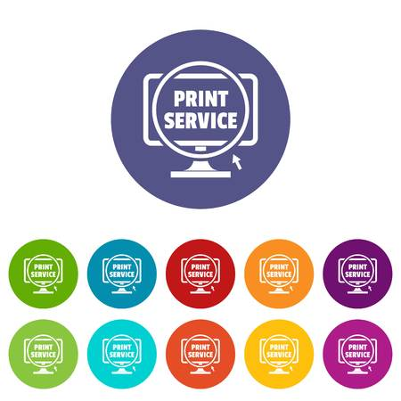 Print service icons color set for any web design on white background