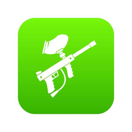 Paintball marker icon digital green for any design isolated on white illustration