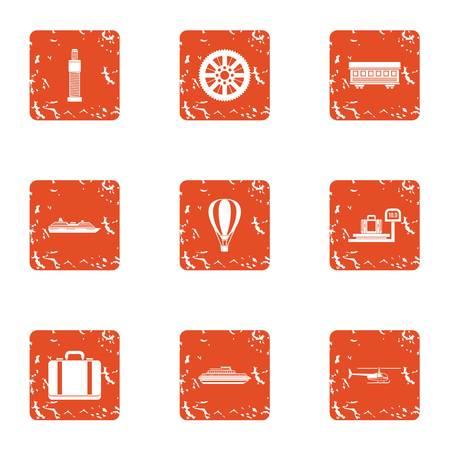 Pickup icons set. Grunge set of 9 pickup icons for web isolated on white background