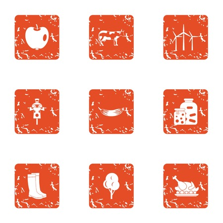 Peasant icons set. Grunge set of 9 peasant icons for web isolated on white background