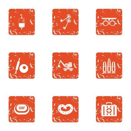 Strengthening icons set. Grunge set of 9 strengthening icons for web isolated on white background