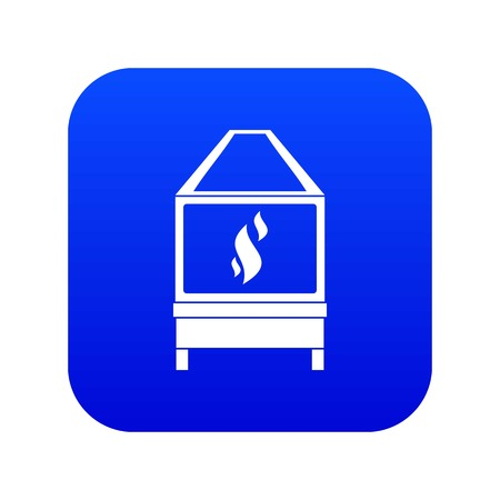 Blacksmith oven with flame fire icon digital blue for any design isolated on white vector illustration