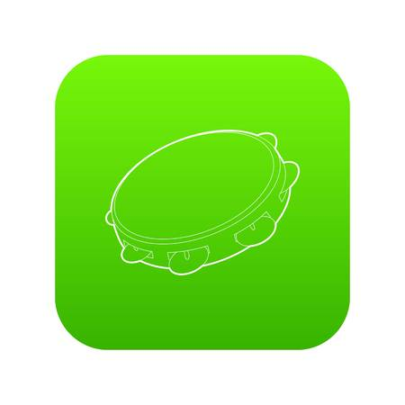 Tambourine icon green vector