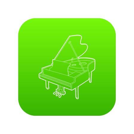Grand piano icon green vector Illustration