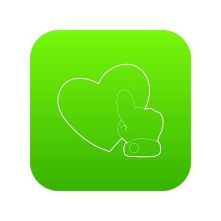 Heart touch icon green vector Ilustração