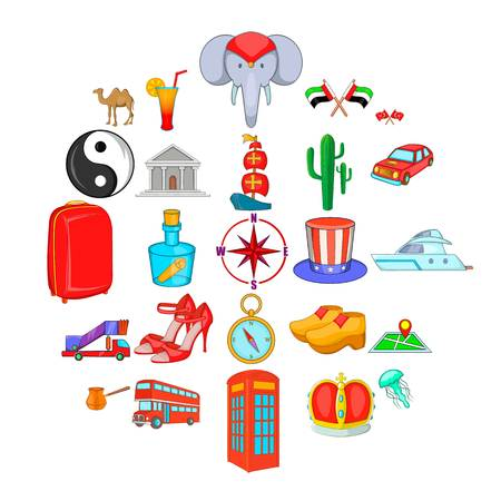 Ramble icons set. Cartoon set of 25 ramble vector icons for web isolated on white background